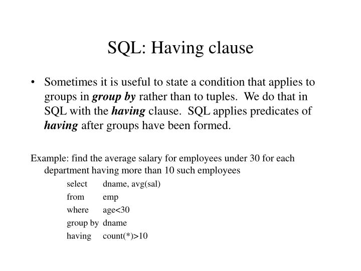 SQL: Having clause
