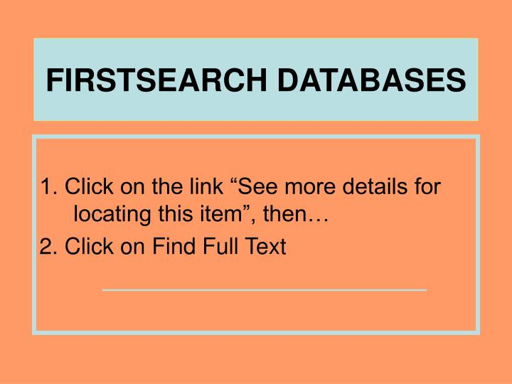 FIRSTSEARCH DATABASES