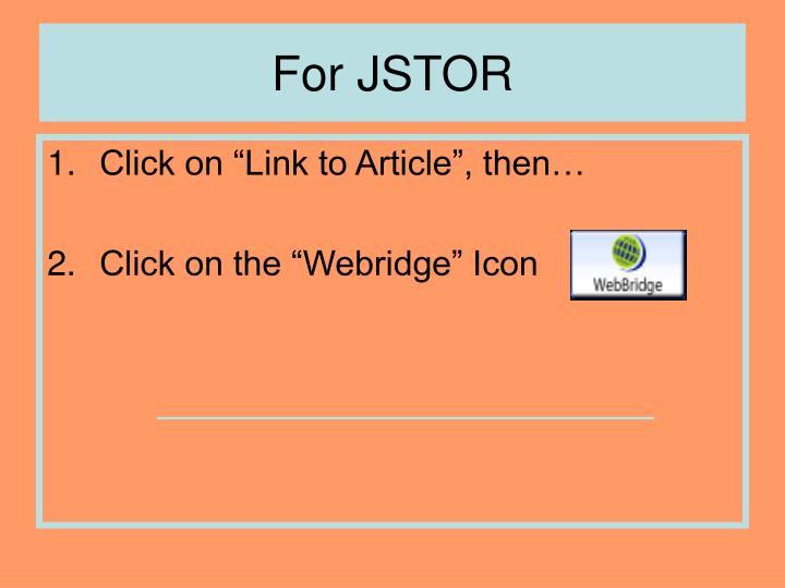 For JSTOR