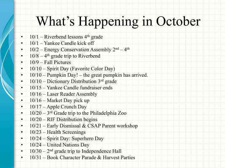 What's Happening in October