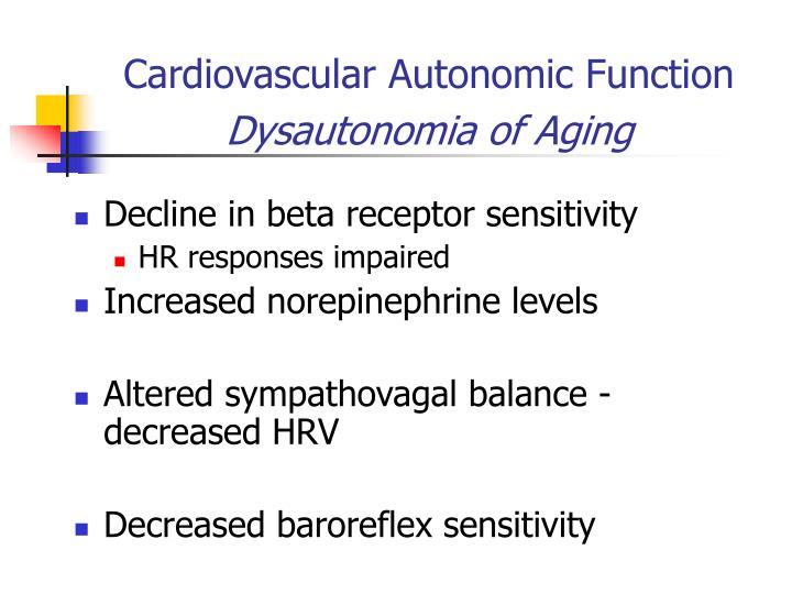 Cardiovascular Autonomic Function