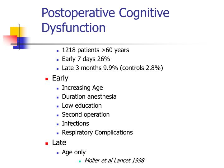 Postoperative Cognitive Dysfunction