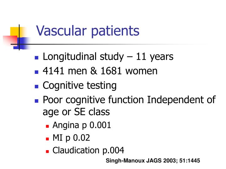 Vascular patients