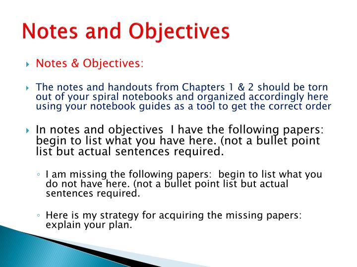 Notes and Objectives