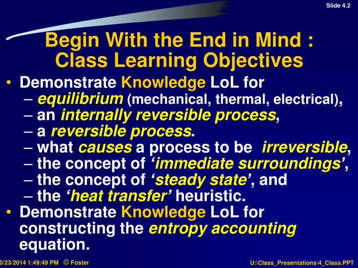 Begin with the end in mind class learning objectives