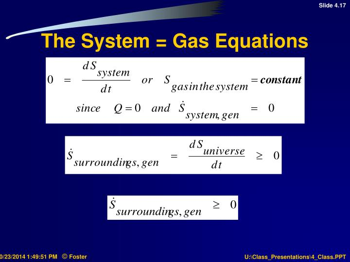 The System = Gas Equations