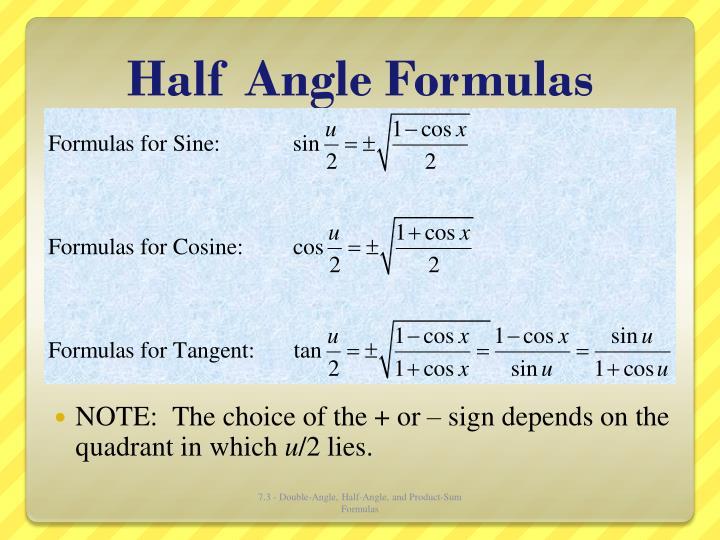 Half Angle Formulas