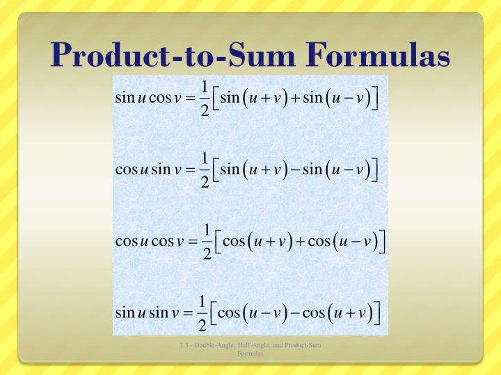 Product-to-Sum Formulas