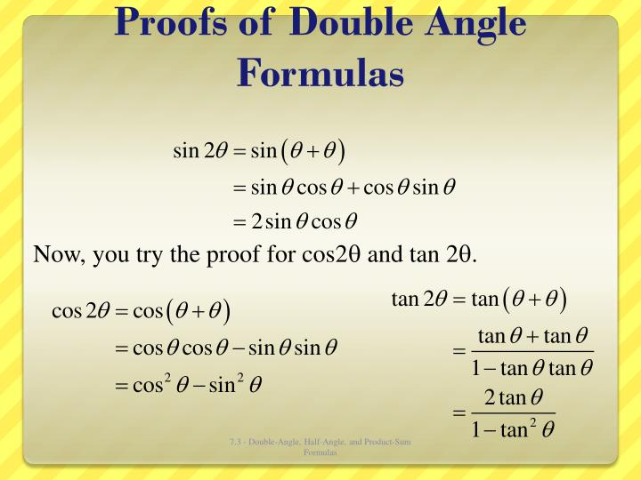 Proofs of double angle formulas