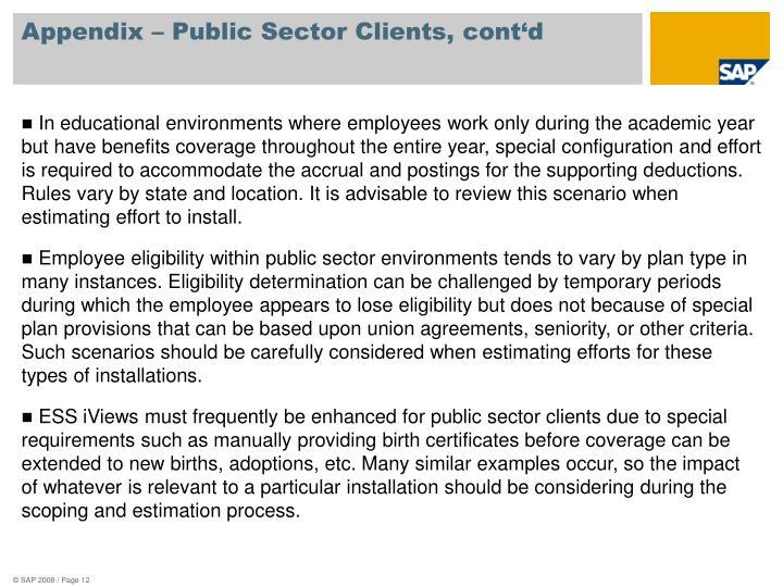 Appendix – Public Sector Clients, cont'd