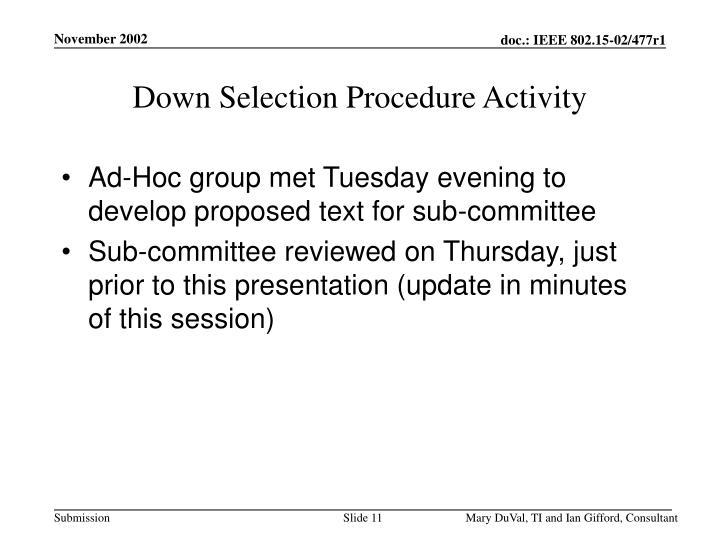 Down Selection Procedure Activity