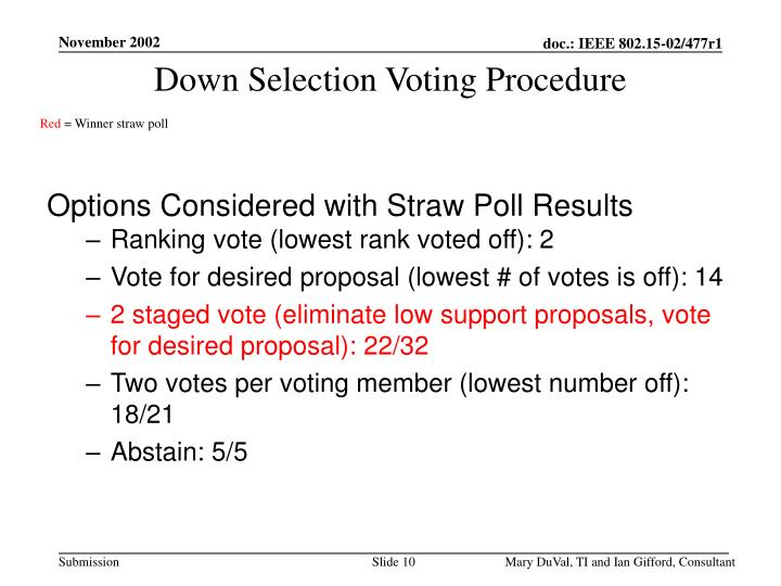 Down Selection Voting Procedure