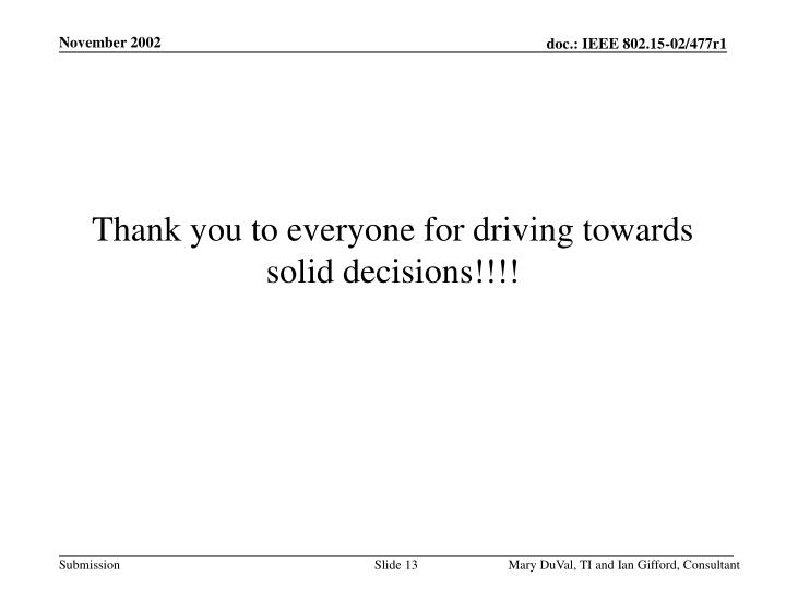 Thank you to everyone for driving towards solid decisions!!!!
