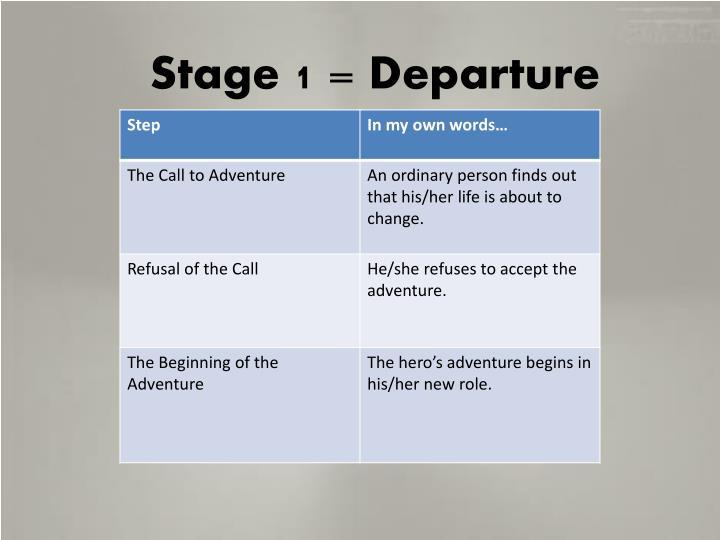 Stage 1 = Departure
