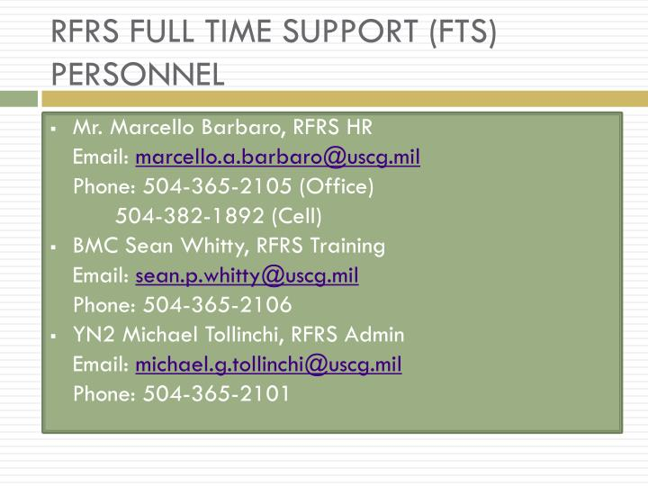 RFRS FULL TIME SUPPORT (FTS) PERSONNEL