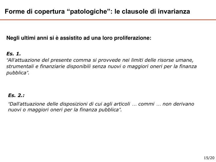"""Forme di copertura """"patologiche"""": le clausole di invarianza"""