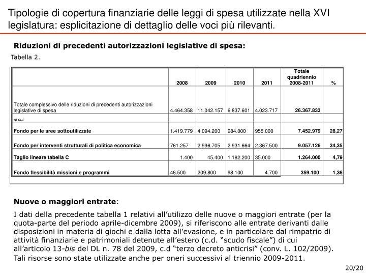 Tipologie di copertura finanziarie delle leggi di spesa utilizzate nella XVI legislatura: esplicitazione di dettaglio delle voci più rilevanti