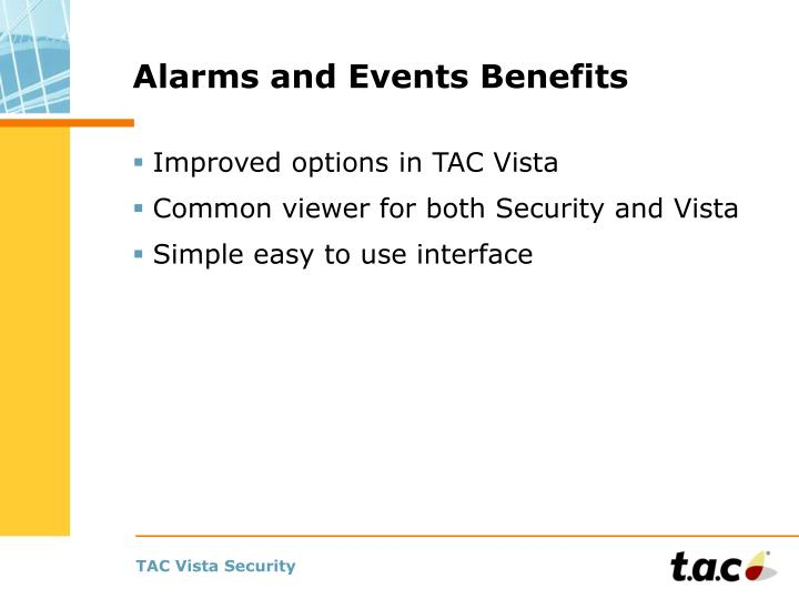 Alarms and Events Benefits