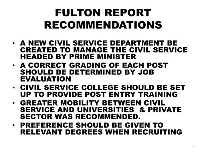 FULTON REPORT RECOMMENDATIONS