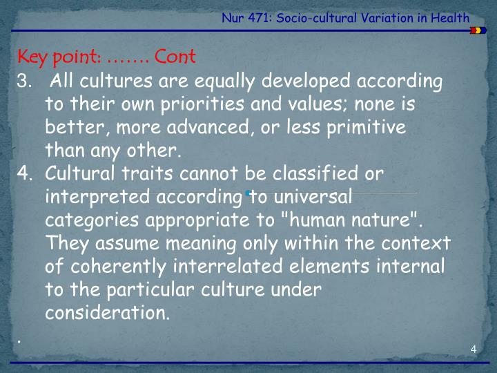 Nur 471: Socio-cultural Variation in Health