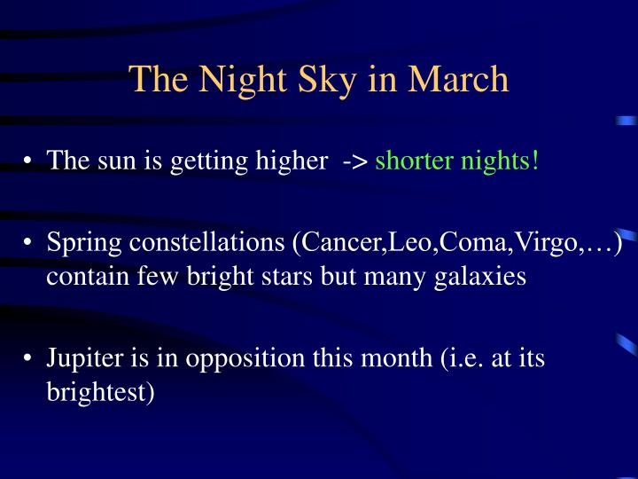 The Night Sky in March