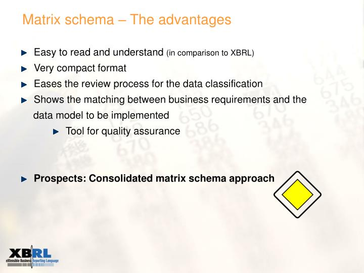 Matrix schema – The advantages