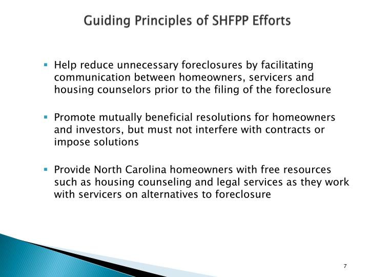 Guiding Principles of SHFPP Efforts