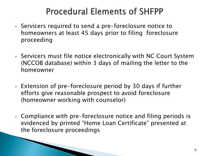 Procedural Elements of SHFPP
