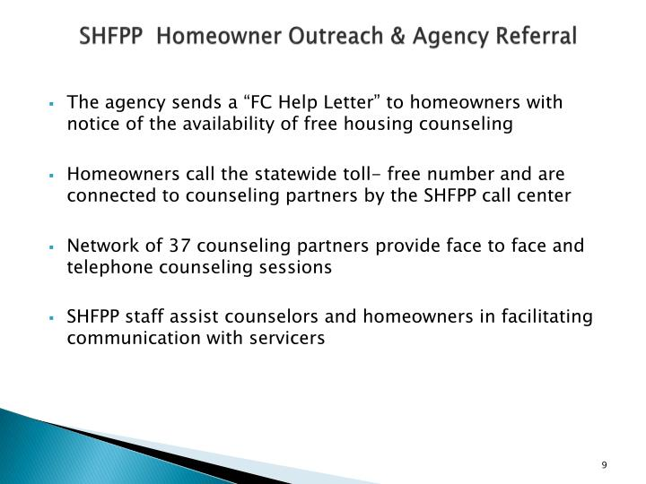 SHFPP  Homeowner Outreach & Agency Referral