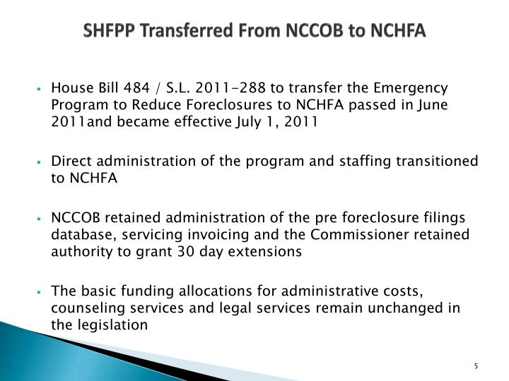 SHFPP Transferred From NCCOB to NCHFA