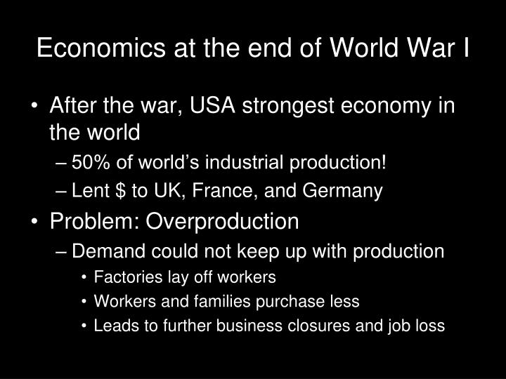 Economics at the end of World War I