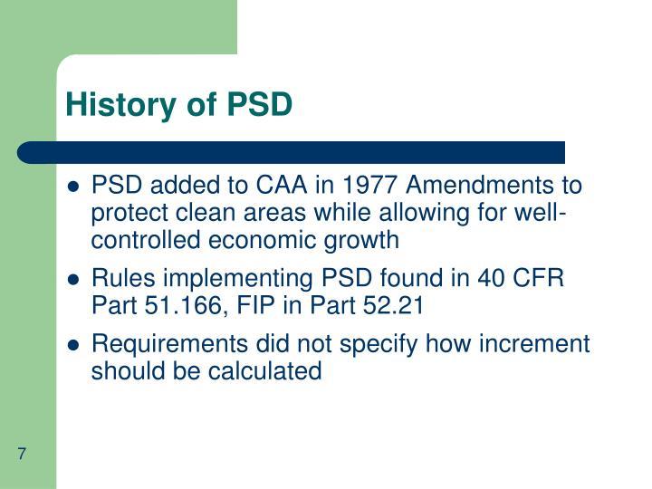 History of PSD