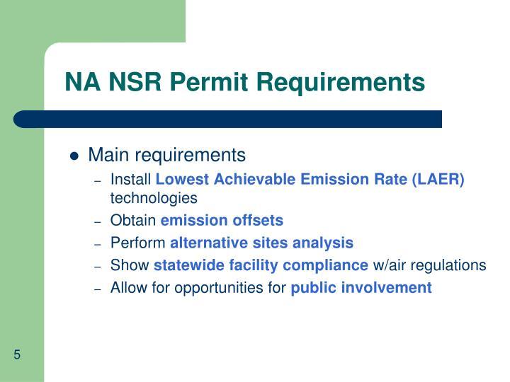 NA NSR Permit Requirements