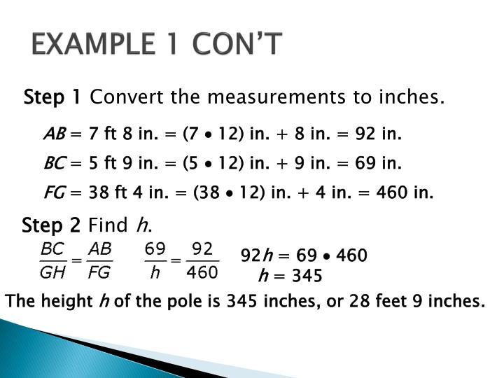 EXAMPLE 1 CON'T