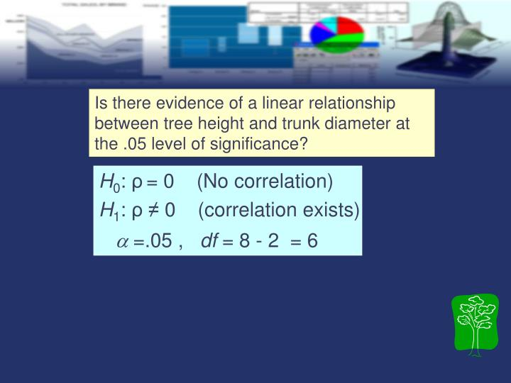 Is there evidence of a linear relationship between tree height and trunk diameter at the .05 level of significance?
