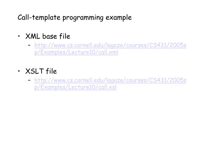 Call-template programming example