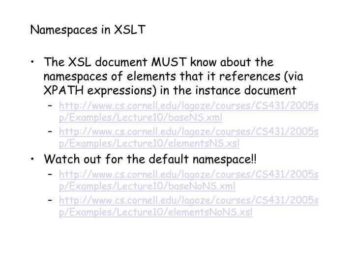 Namespaces in XSLT