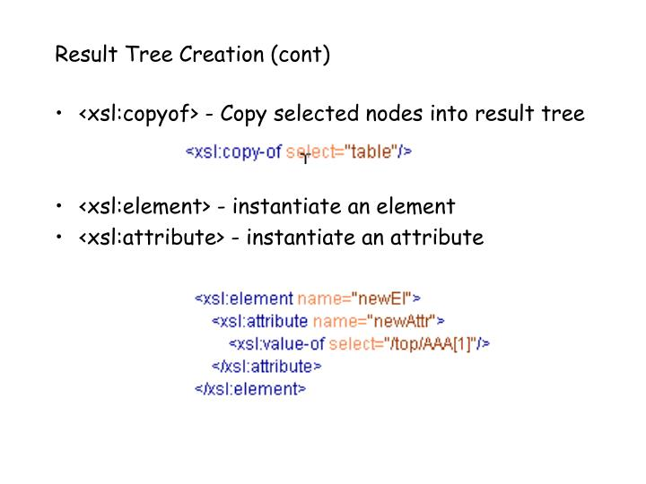 Result Tree Creation (cont)