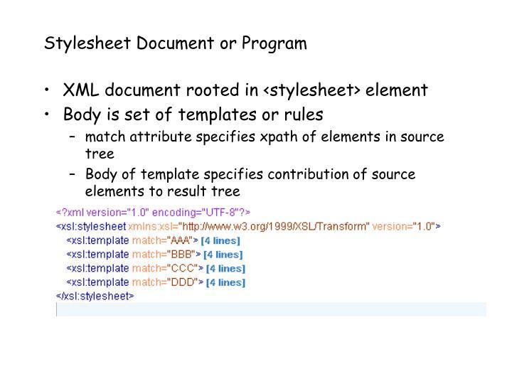 Stylesheet Document or Program