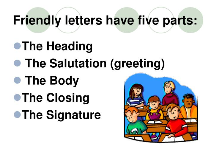 Friendly letters have five parts: