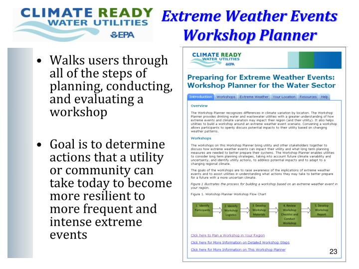 Extreme Weather Events Workshop Planner