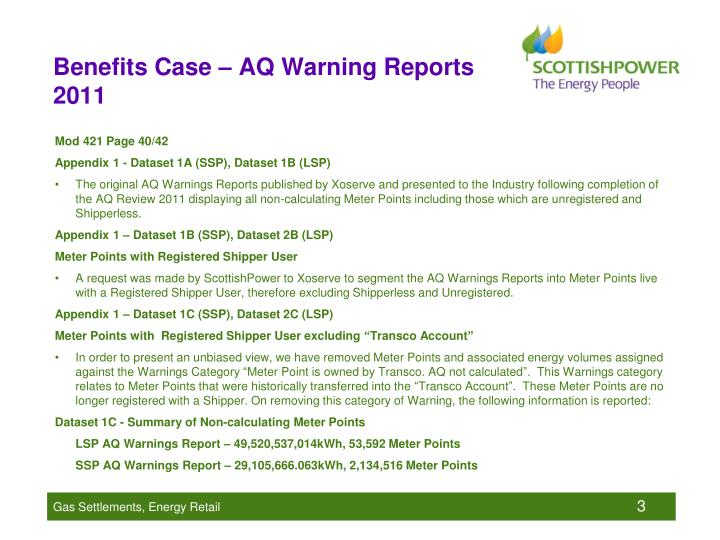 Benefits case aq warning reports 2011