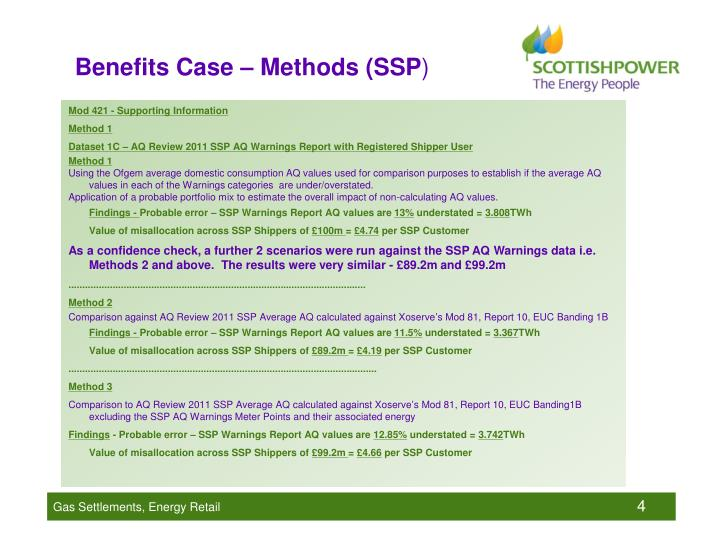Benefits Case – Methods (SSP