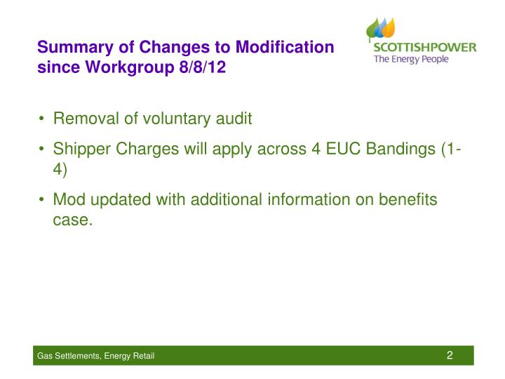 Summary of changes to modification since workgroup 8 8 12