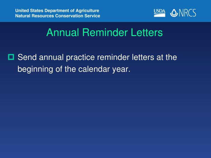 Annual Reminder Letters
