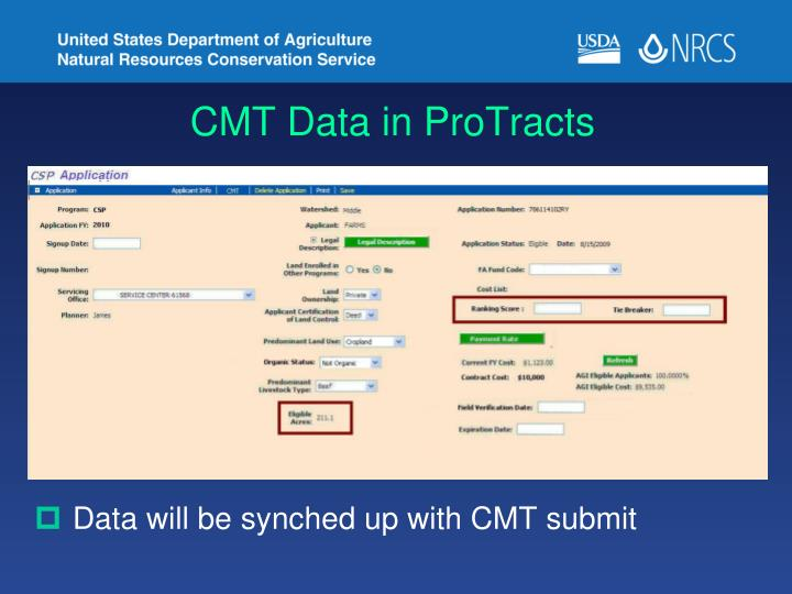 CMT Data in ProTracts