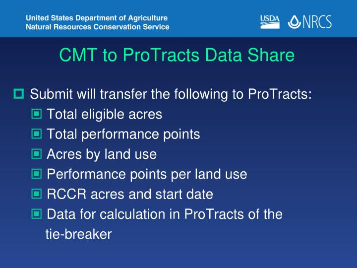 CMT to ProTracts Data Share