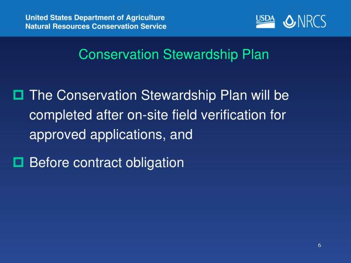 Conservation Stewardship Plan