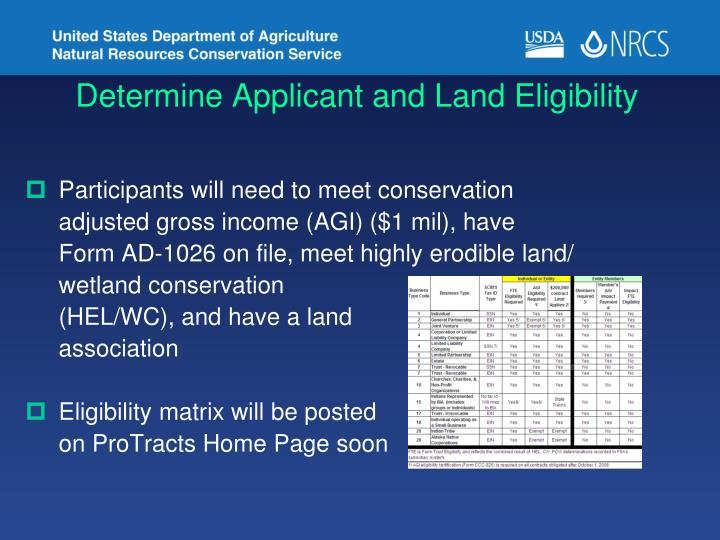 Determine Applicant and Land