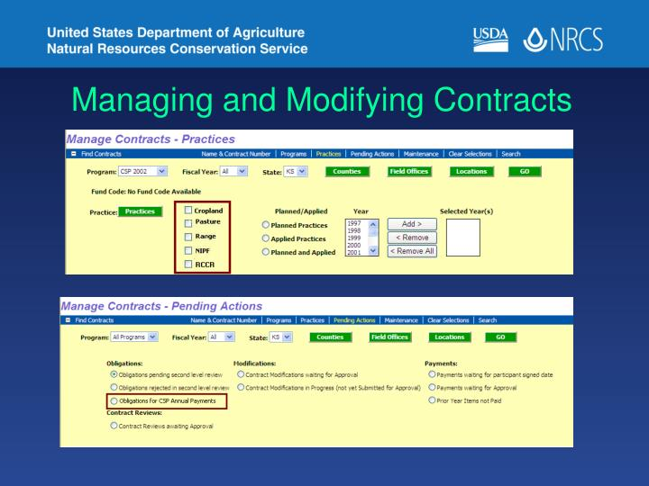 Managing and Modifying Contracts